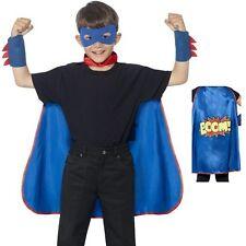Robe fantaisie Super-héros Enfants Kit cape masque poignets Blue Kids Manteau Par Smiffys