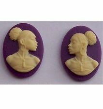 African American Cameo 18x13 Matched Pair Purple Resin Cameos  613x