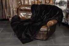 6580 Echtpelz Nerzdecke aus gerupften Nerzen in Schwarz Echt Fell Decke Nerz