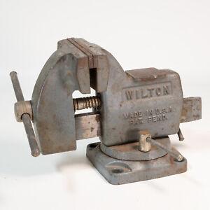 "Wilton Vise 121091 4"" Jaw Tilting Vise Swivel Base Bench Table Mount Vintage"