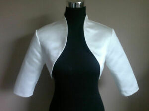 White /ivory Satin Bolero/Shrug/Jacket/Stole/Wrap/Shawl 3/4 Sleeves Wedding