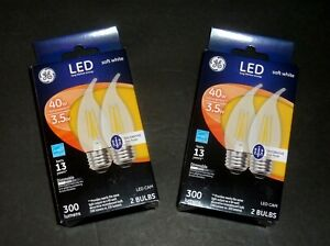 GE LED Bent Tip Decorative CLEAR Soft White Medium base 40W, Dimmable (4 bulbs)