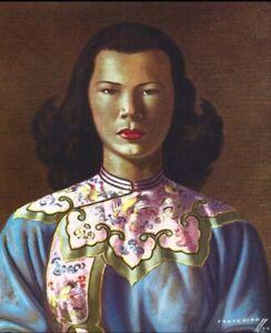 Vintage Blue Dress Chinese Lady reproduction print 42x30cm.
