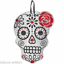 30.5cm Halloween Muertos Day Of The Dead Hanging Glitter Skull Cutout Decoration
