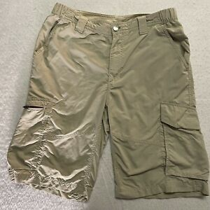 Columbia Omni Shield 32 Waist 12 Length Cargo Tan Hiking Shorts 6 Pocket