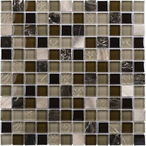 Modern Squares Black Brown Beige Glass Stone Mosaic Tile Backsplash MTO0210