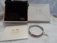 Signature Cc Logo Bangle Bracelet Coach Pink Enamel and Silver Tone
