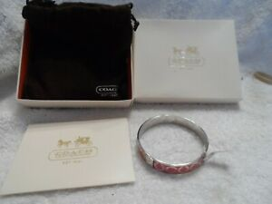 COACH Pink Enamel and Silver Tone Signature CC Logo Bangle Bracelet