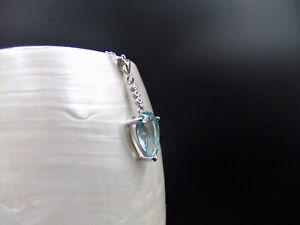 Aquamarine, Cubic Zirconia, Sterling Silver, Necklace