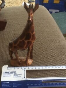 Hand Carved Wooden Giraffe Sculpture Carving Art