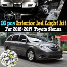 16Pc Super White Interior LED Light Bulb Kit Package for 2015-2017 Toyota Sienna