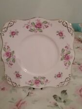 Tuscan Square Cake / Sandwich Plate Pale Pink with Delicate  Flower design