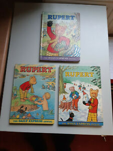 RUPERT BEAR ANNUALS X 3 * 1974, 75 & 76 * GOOD CONDITION *