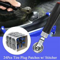 24Pcs Tyre Repair Plug Patches w/ Stitcher Tool Kit for Auto Car Motorcycle Bike