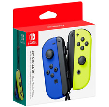 New NINTENDO SWITCH Blue & Yellow Joycons (Straps & Joy-con L R Attachment Incl)