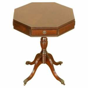 LOVELY  FLAMED MAHOGANY DRUM SIDE TABLE WITH TWO DRAWERS