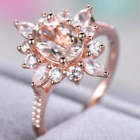Fashion Rose Gold Champagne Rhinestone Crystal Ring Women Wedding Jewelry WE