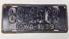 1939 IOWA Van Buren County License Plate 89-1560
