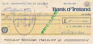 BANK OF IRELAND CHEQUE 1977