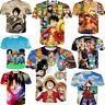 Women Men Print Anime One Piece 3D Casual T-Shirt Summer Short Sleeve Tops Tee
