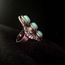 Ring Big Silver Turquoise Hippie Boho  Gypsy Bohemian Tribal Gift R1019