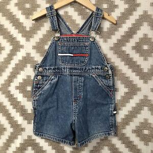 Vintage Tommy Hilfiger Toddler Size 18-24 Months Denim Short Overalls Logo
