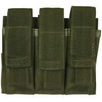 NEW  Military Style Tactical Triple Pistol Mag MOLLE Pouch - OD GREEN OLIVE DRAB