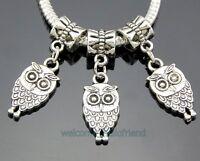 30pcs Tibetan Silver Owl Dangle Charms Beads Fit European Bracelet ZY97