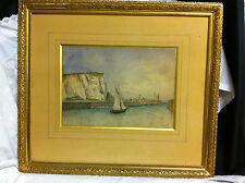 """Peinture / Aquarelle encadrée  """"St Valéry en Caux""""  signé J.Bilet"""""""