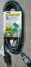 Prime Ec880612 indoor/outdoor medium duty 12' electrical extension cord (green)