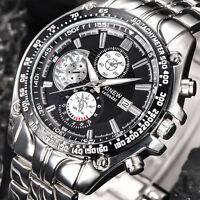 Luxury Men's Military Stainless Steel Date Analog Quartz Sports Wrist Watches UK