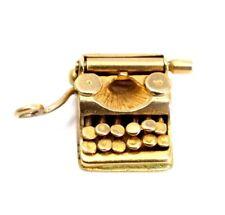GOLD 9ct Hallmarked Type Writter Charm Vintage Bracelet pendant Gift Birthday