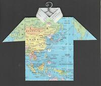 Origami Map Shirt China, Japan, Phillipines, Thailand, Malaysia, Indonesia