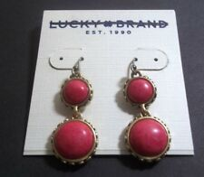 Lucky Brand Earrings Double Drop Dangle Gold Tone Semi Precious coral New 4823