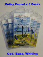 Sea Fishing Rigs, Pulley Pennel Smoothound & Bass x 12 Mixed Rough Ground Pack.