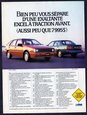 1986 HYUNDAI Excel Vintage Original Print AD Blue red car hatchback sedan canada