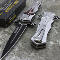 "9"" TAC FORCE CRUSADER MEDIEVAL CROSS DAGGER STYLE SPRING ASSISTED FOLDING KNIFE"