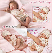 Ashton Drake Hush lifelike Breathing lifelike baby Doll hand applied hair