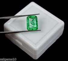 Natural Emerald Cut Zambian Green Emerald May Birthstone 6.15 Ct IGL Certified