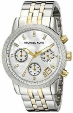 MICHAEL KORS MK5057 RITZ Gold Silver Mother of Pearl Chronograph Women's Watch