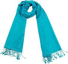 Pashmina Schal Türkis 70x198, 70% Cashmere,30% Seide, Silk scarf turquoise