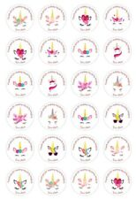 24 x 4cm Personalised Unicorn face Birthday Party Stickers Thank you Sweet cone
