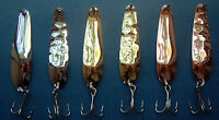 "2 1/4"" Nickel, Copper, Gold  trolling flutter spoons HEX &  SMOOTH Walleye Candy"