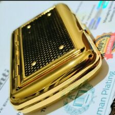 More details for 24k gold plated metal polished rolling tobacco tin case rizla holder mesh boxed