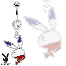 TJS Blue White Red Genuine Playboy Bunny Dangle Belly Ring Navel Bar Clear CZ