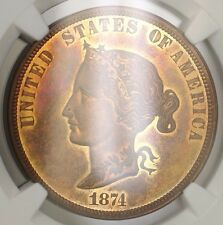 1874 BICKFORD $10 Liberty Copper Proof US Pattern Coin  J-1375 NGC PF64 RB WW