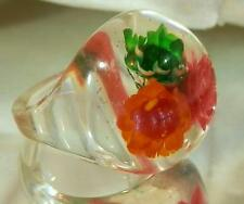 Cool Vintage 50's Embeded Lucite Flower Size 7 Bubble Ring 64S6