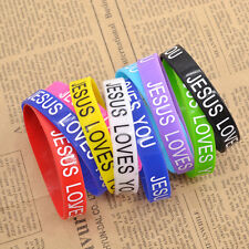 10pcs Jesus Loves You Silicone Bracelet Wristband Christian Multi Colour Random