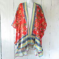 New Umgee Kimono Cardigan 1X 2X Floral Scarf Border Print Ruffle Plus Size