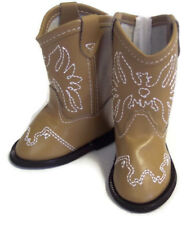 Tan w/Eagle Accent Cowboy Boot Shoes for 18 inch American Girl Doll Clothes